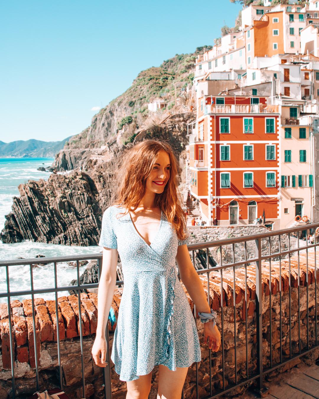 Happy girl in Riomaggiore