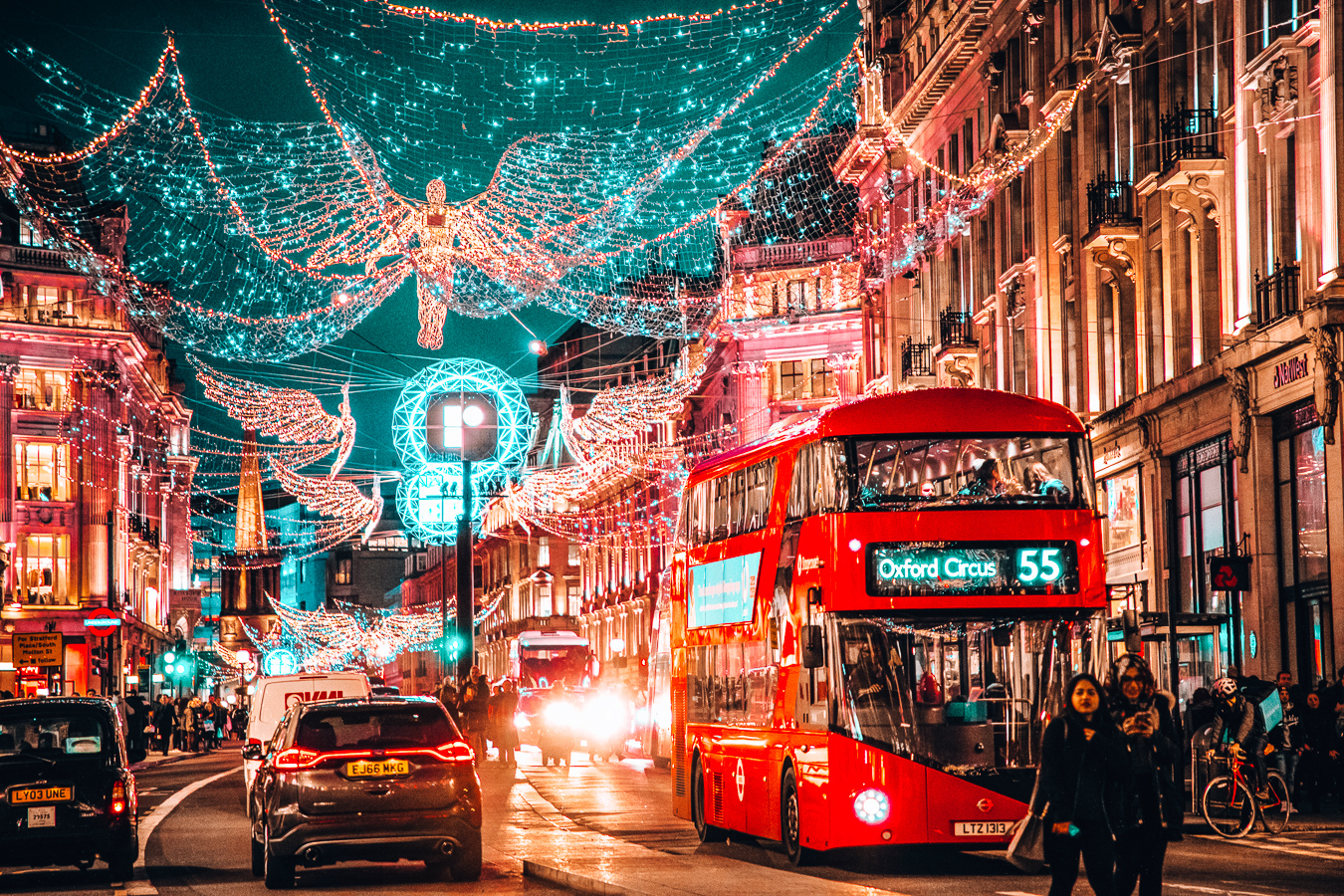 Christmas decorations in London during night