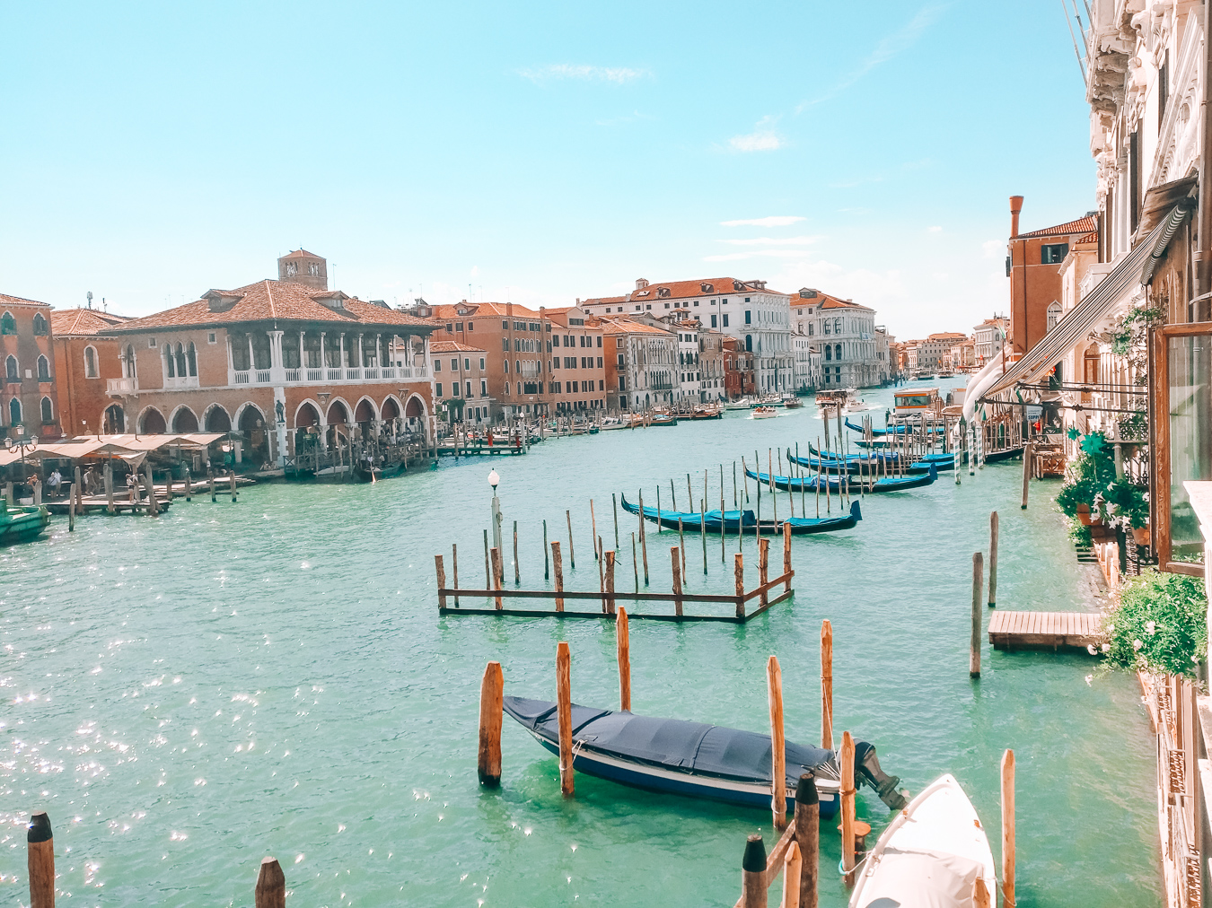 View of gondolas, buildings and water in Venice