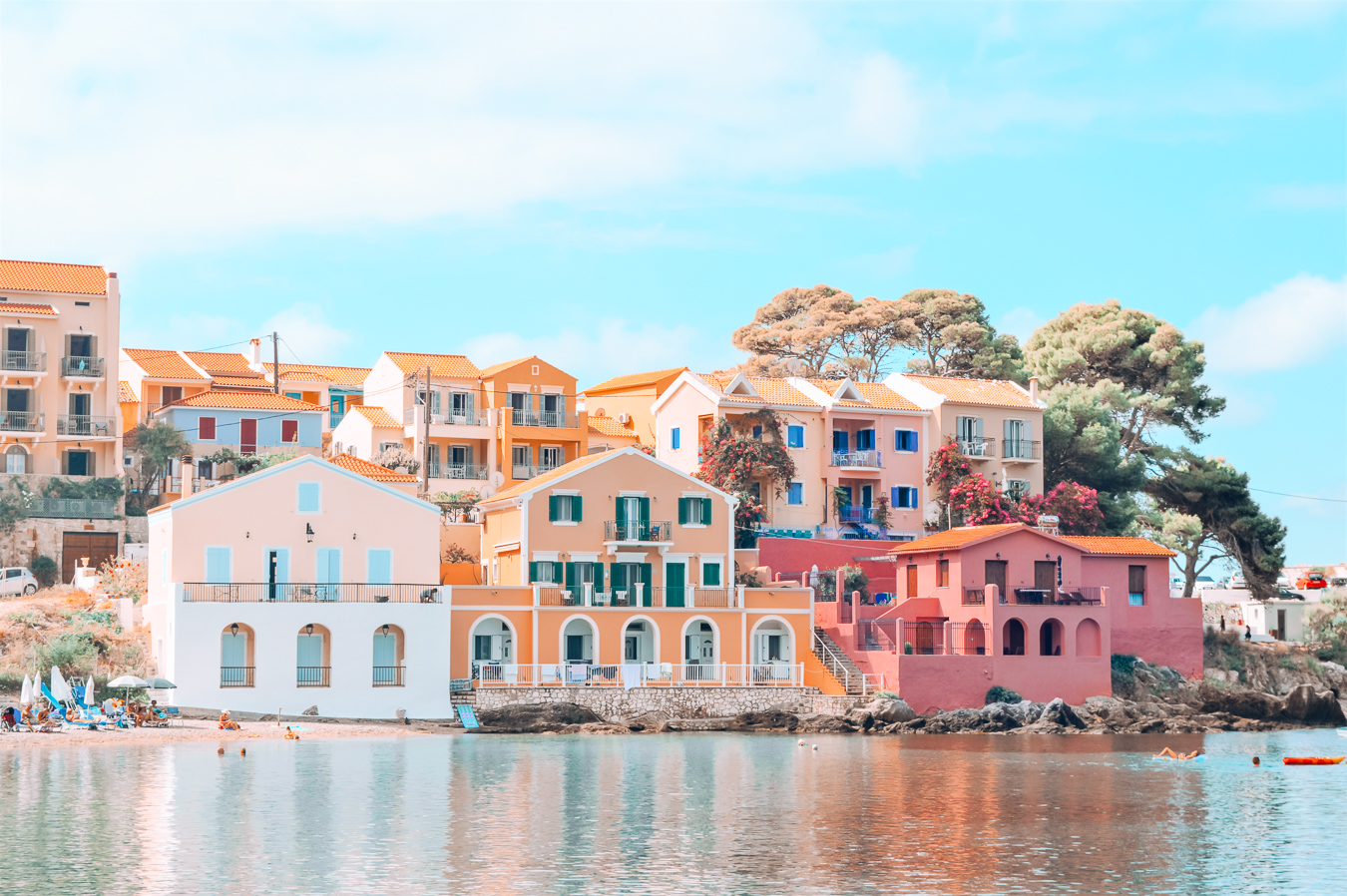 Colorful houses in Kefalonia, Greece