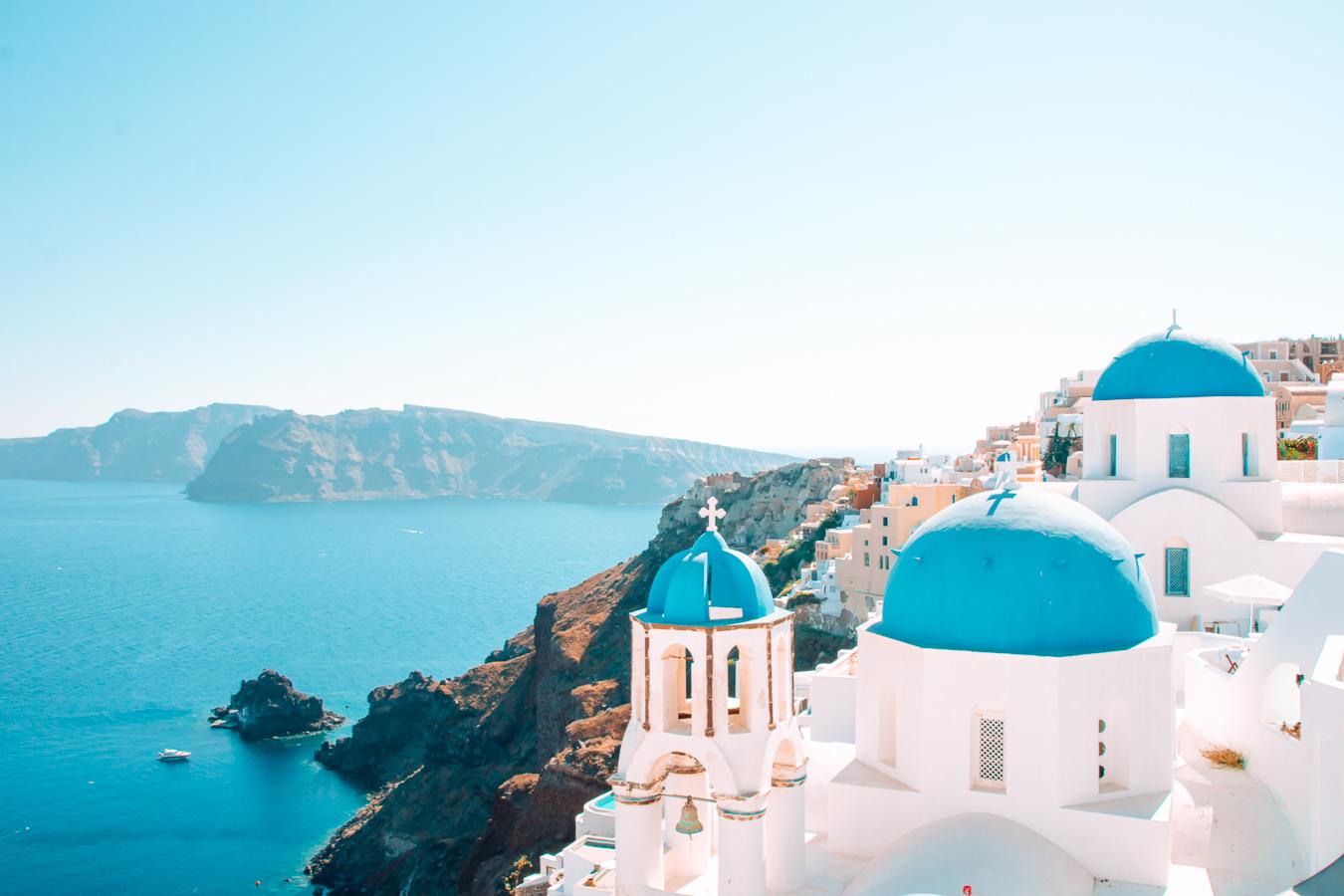 Blue domes in Santorini