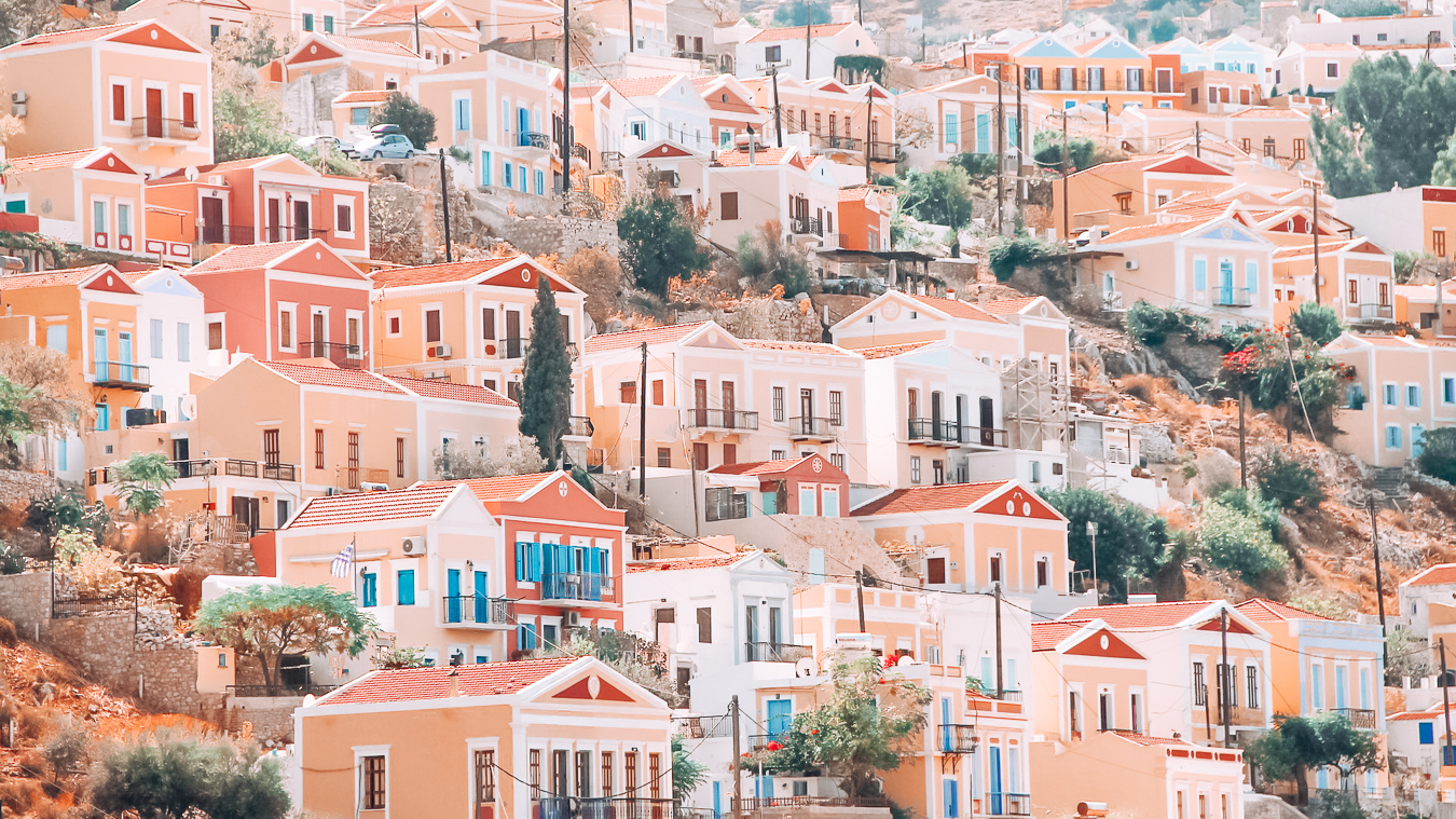 Beautiful houses in Symi, Greece