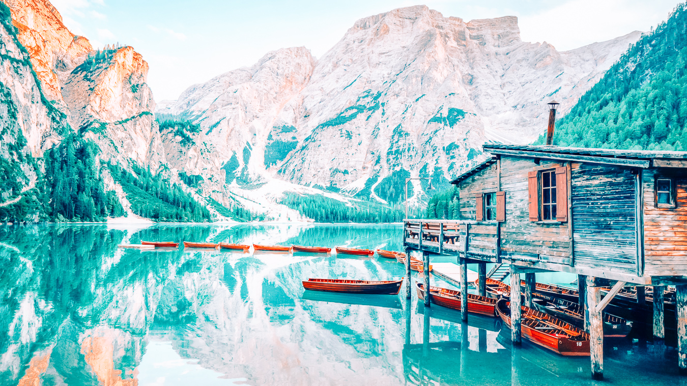 A beautiful view of one of the lakes in the Dolomites
