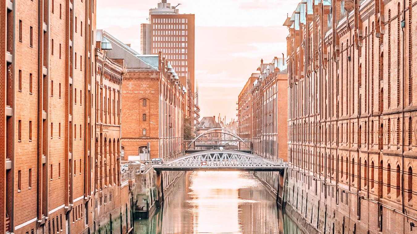 Canal and bridge in Hamburg