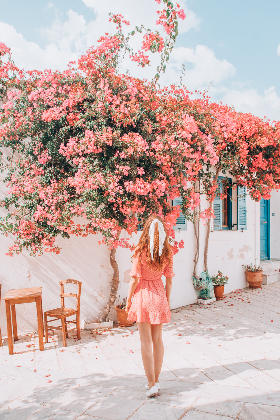 Building with flowers in Lefkes, Paros