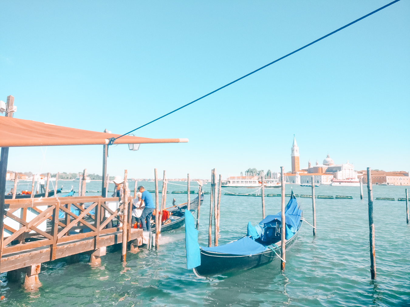 A view of a gondola in Venice