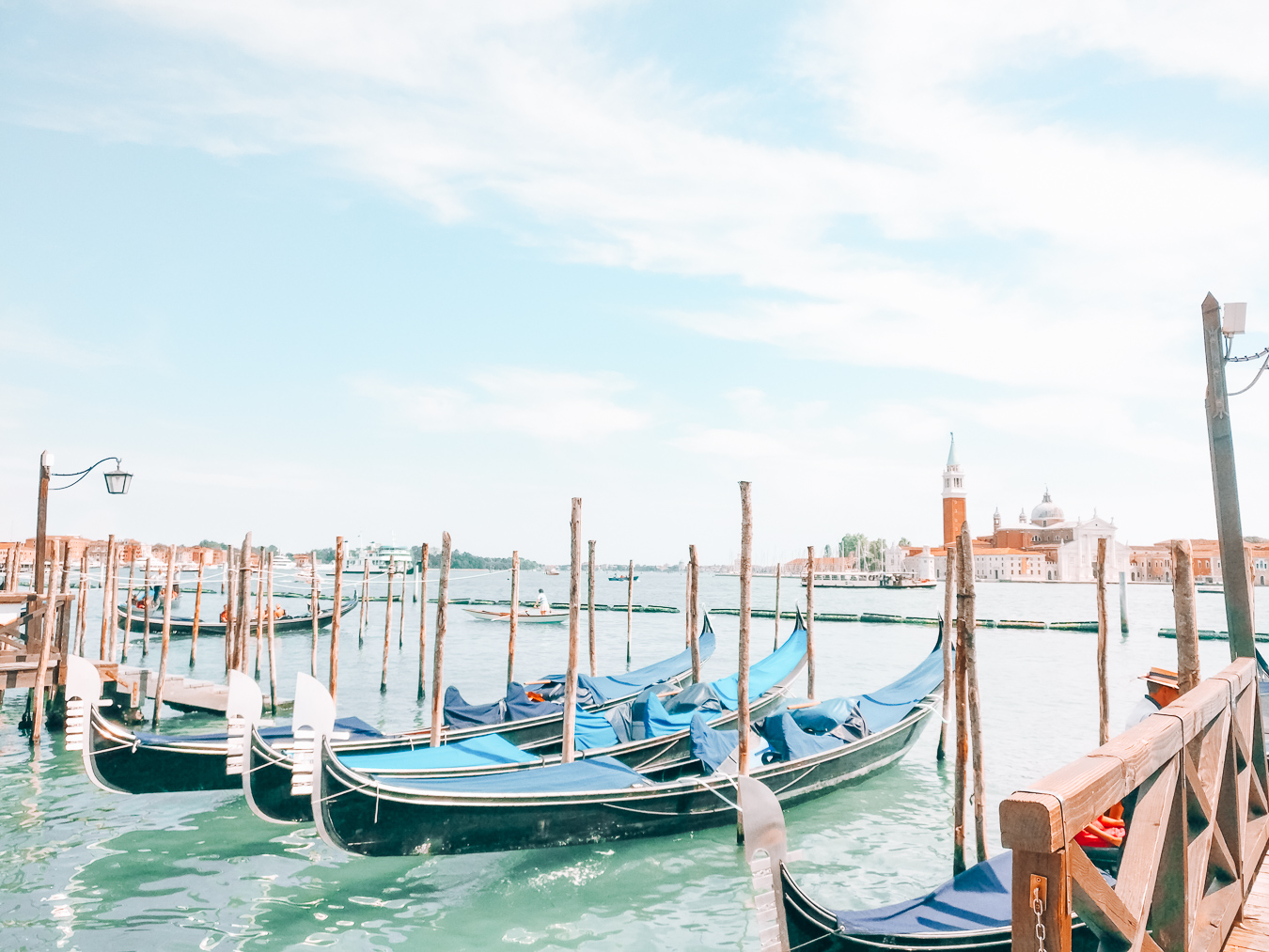 Gondolas in the beautiful city of Venice in Europe