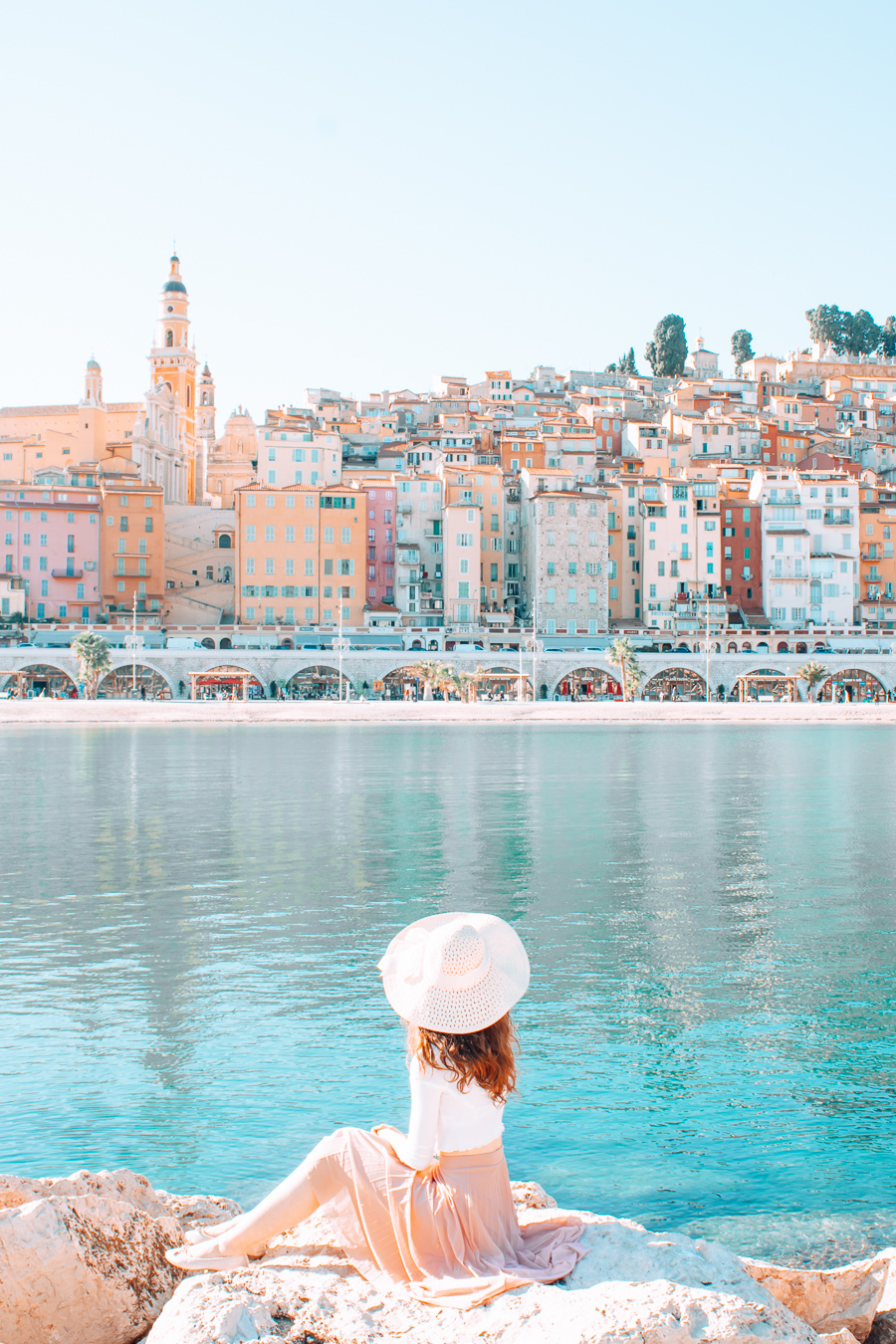 Colorful houses and blue water in Menton