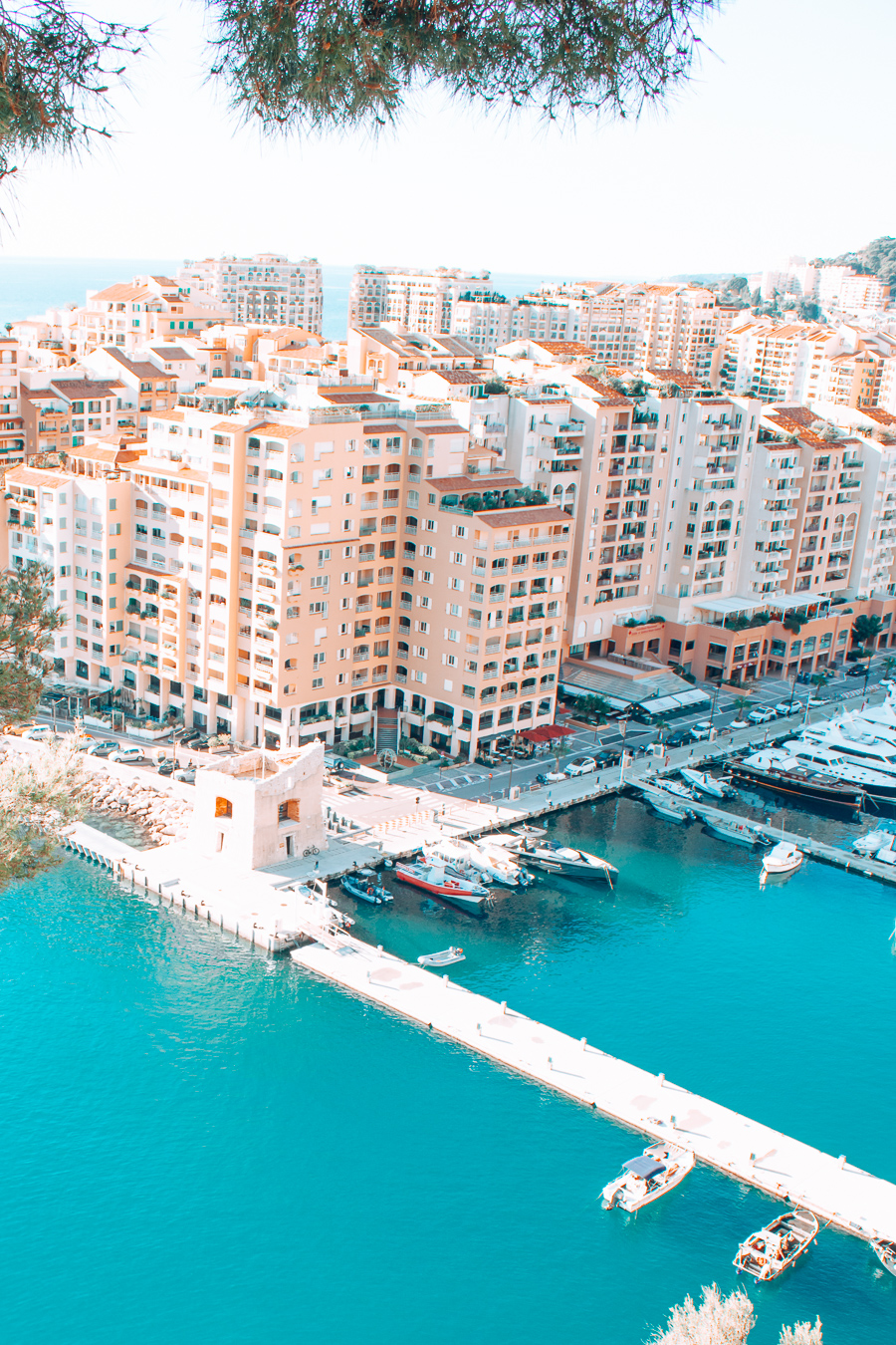 View of water and houses in Monaco