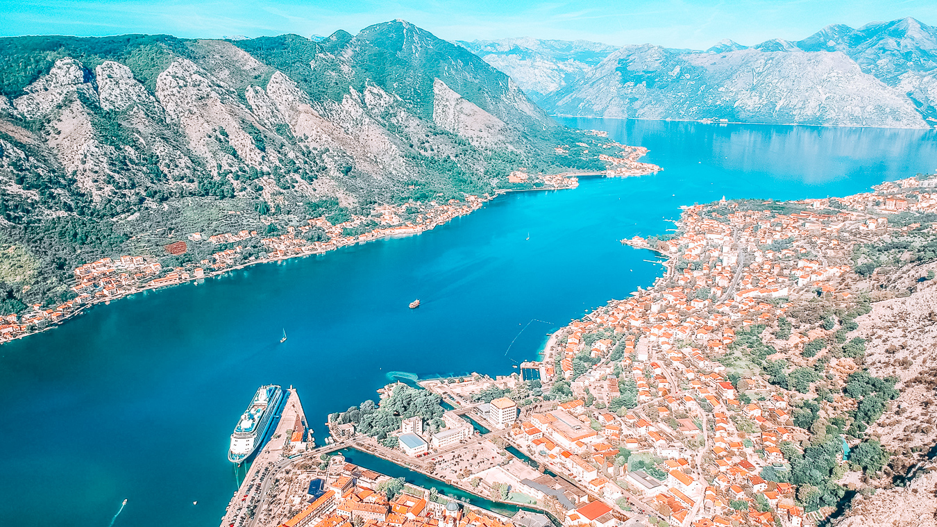 The beautiful city Kotor in Europe from above