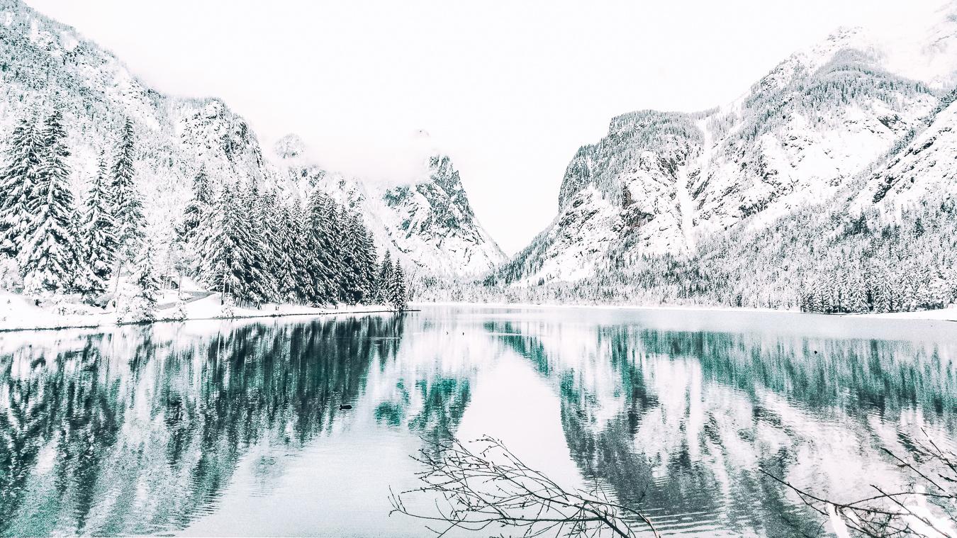 Lake Dobbiaco with snow