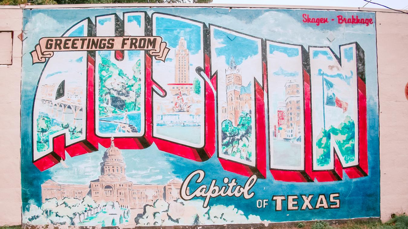 """Greetings from Austin"" mural"