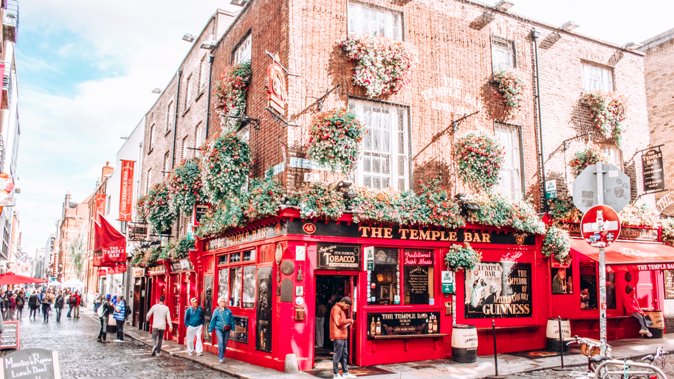 Temple Bar in Dublin with Instagrammable flowers