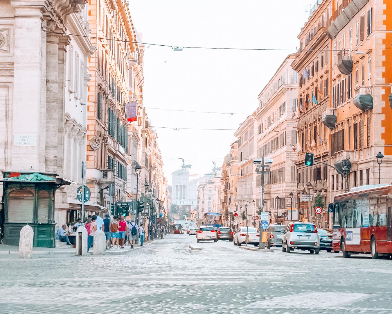 The beautiful street Via Nazionale in Rome