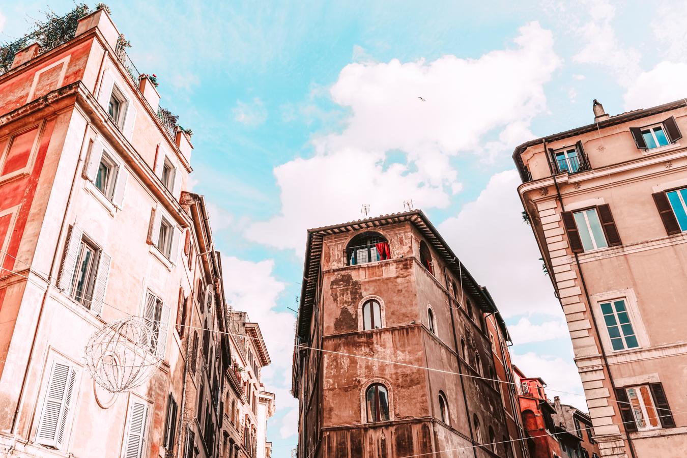 Beautiful buildings in the street Via dei Banchi Vecchi in Rome
