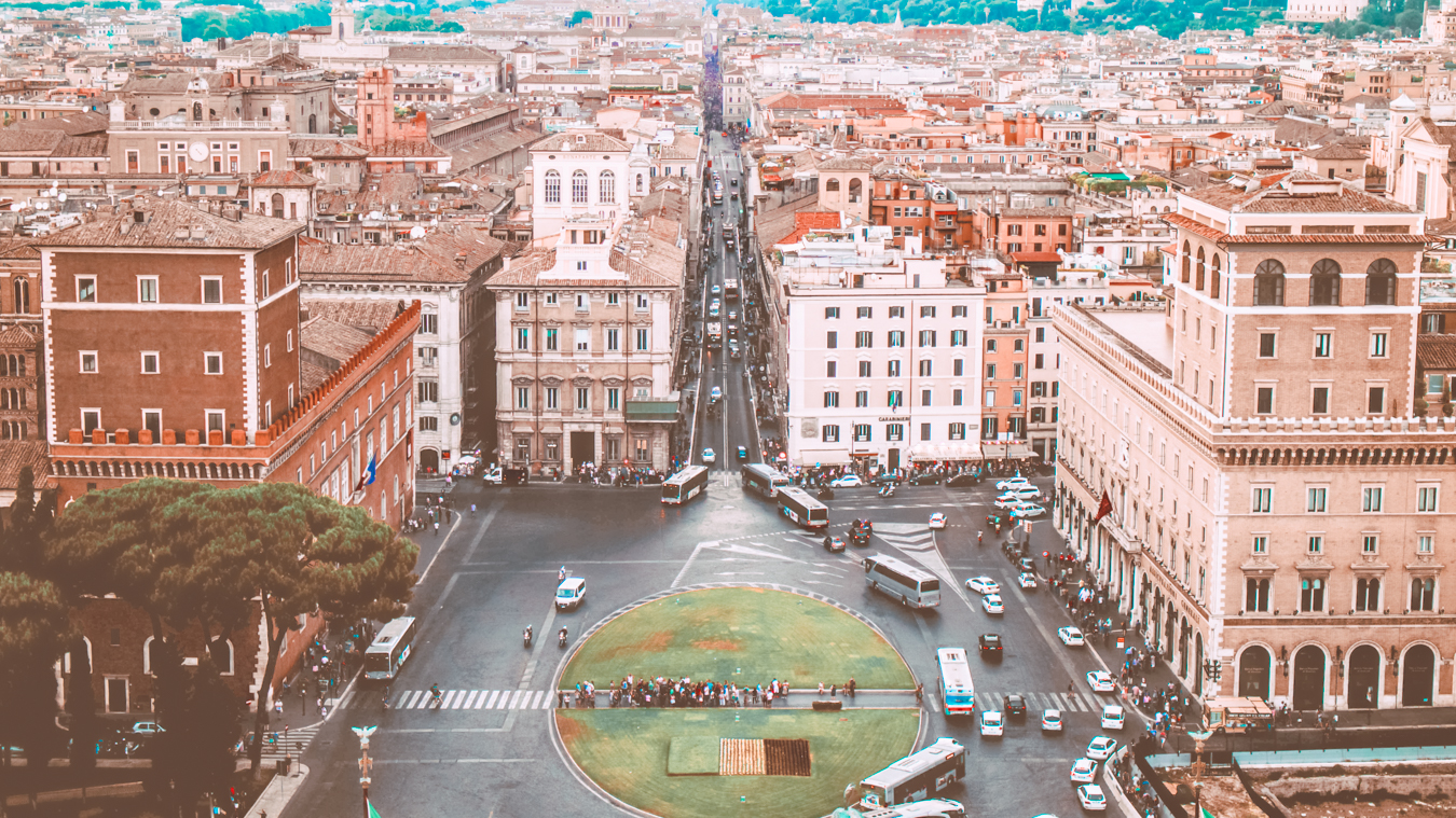 A beautiful view of the street Via del Corso in Rome