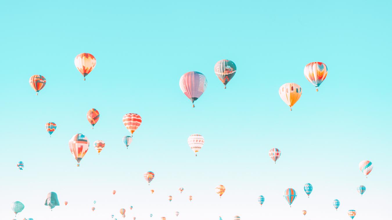 Many hot air balloons