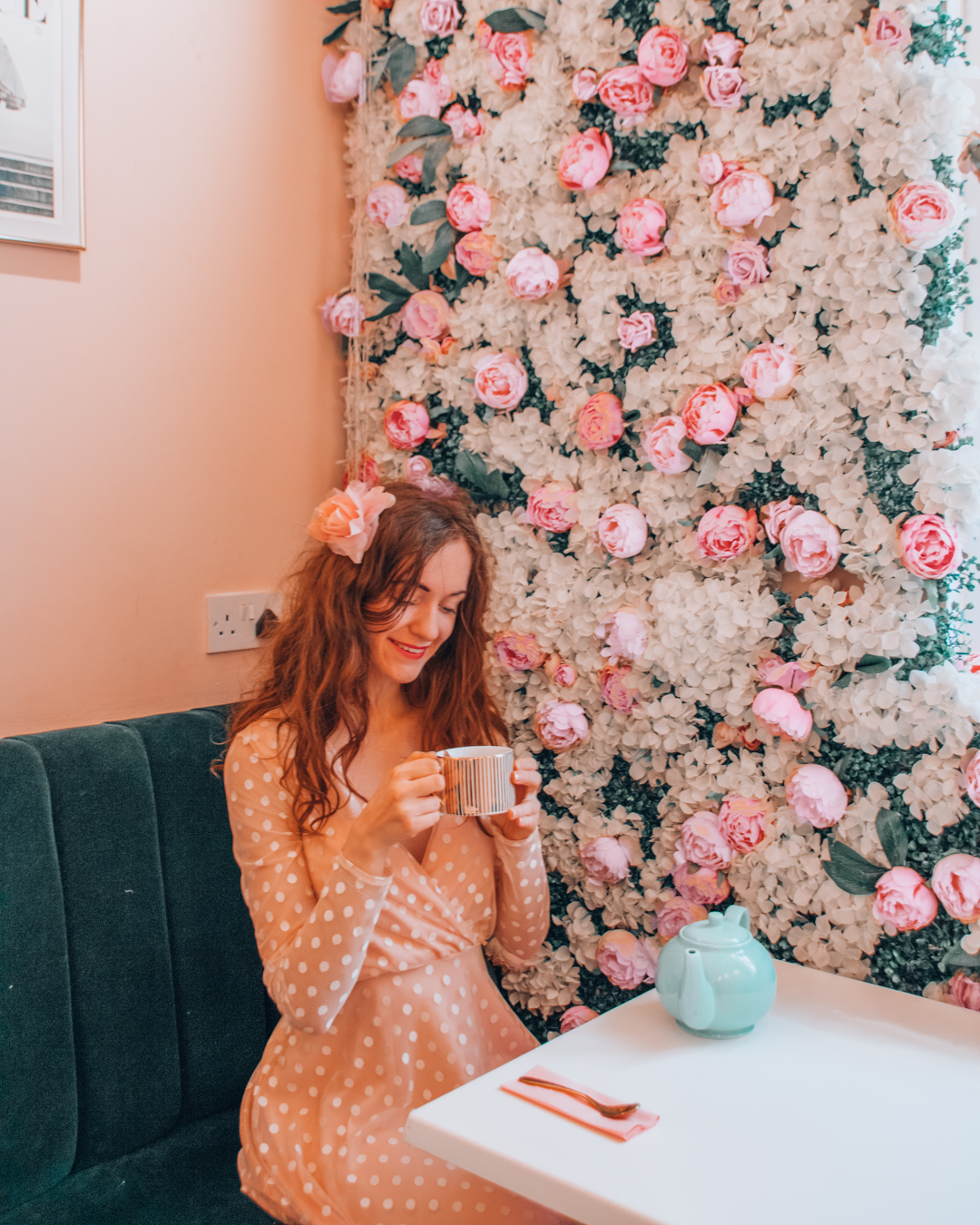 Instagrammable flower wall in London at Saint Aymes