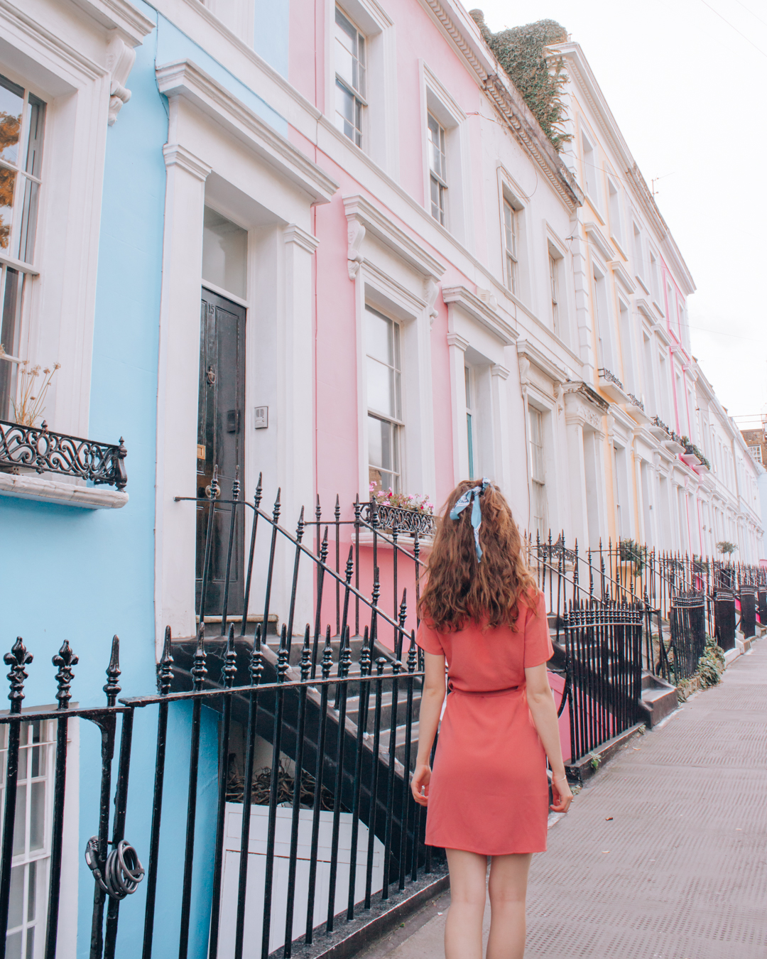 Instagrammable blue and pink houses at Denbigh Terrace in London