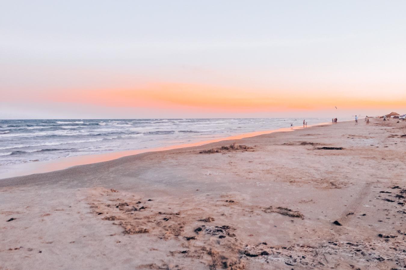 Sunset at a beach in Port Aransas