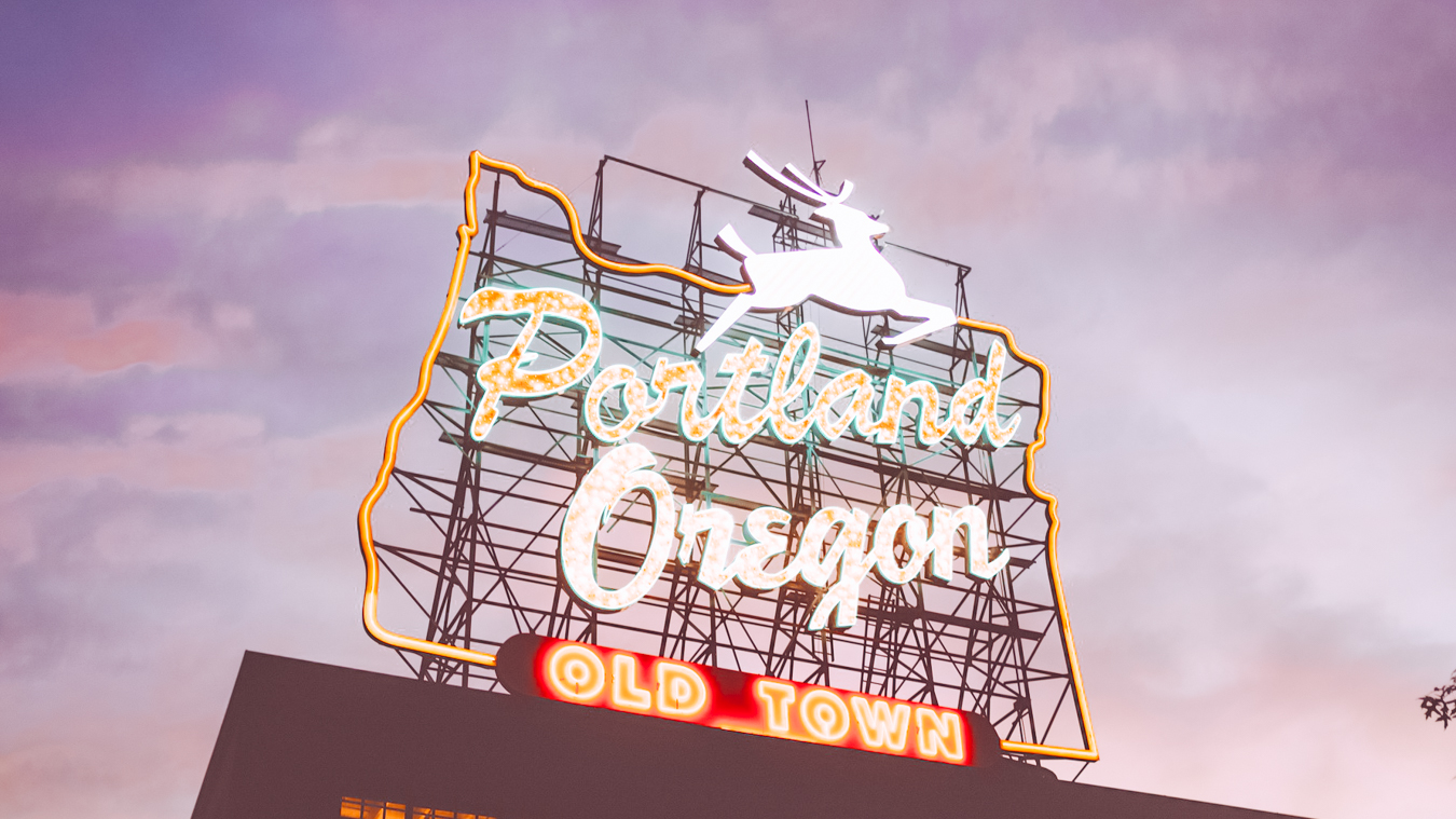 Portland sign in the evening
