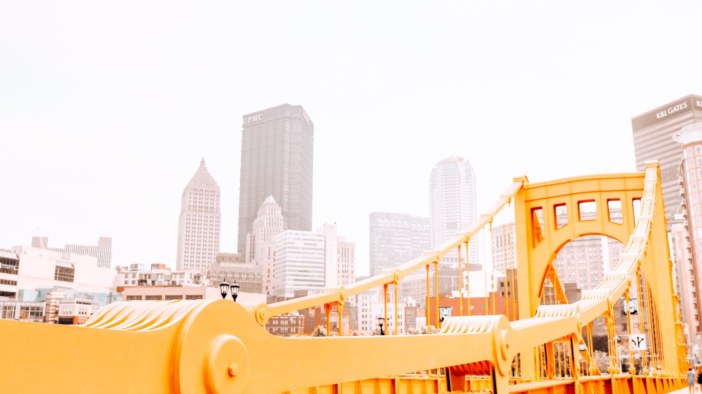 Instagrammable view of the yellow Andy Warhol Bridge in Pittsburgh