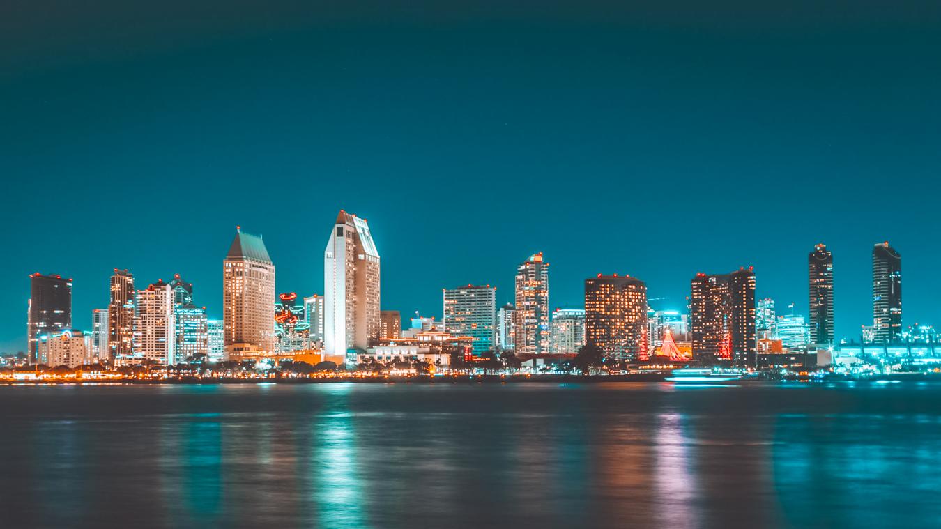 Skyline of San Diego at night
