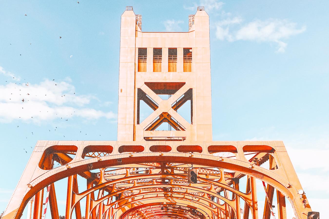 Yellow bridge in Sacramento