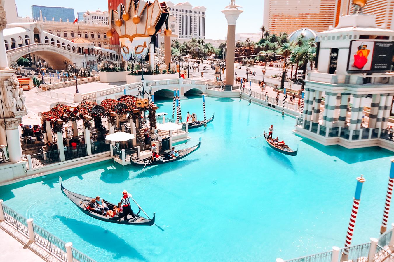 Water and gondolas in Las Vegas