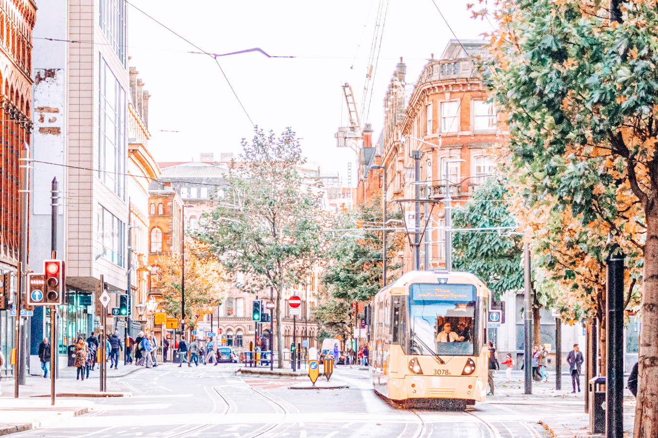 Street with a tram in Manchester