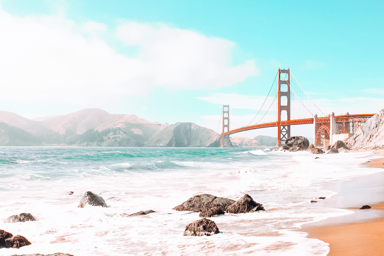 Beach with a view of the Golden Gate Bridge
