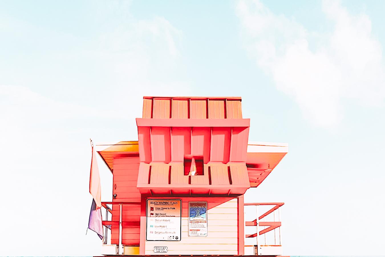 Red beach house