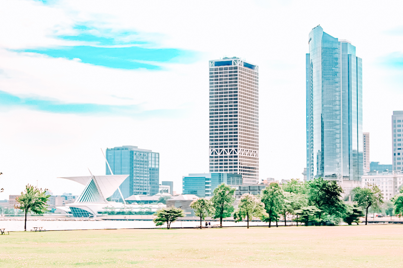Grass, trees, and buildings in Milwaukee