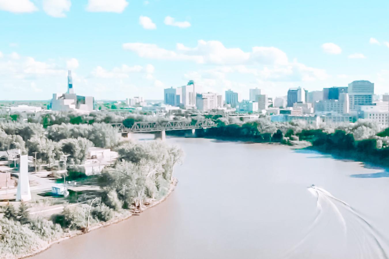 Water, trees, and buildings in Winnipeg