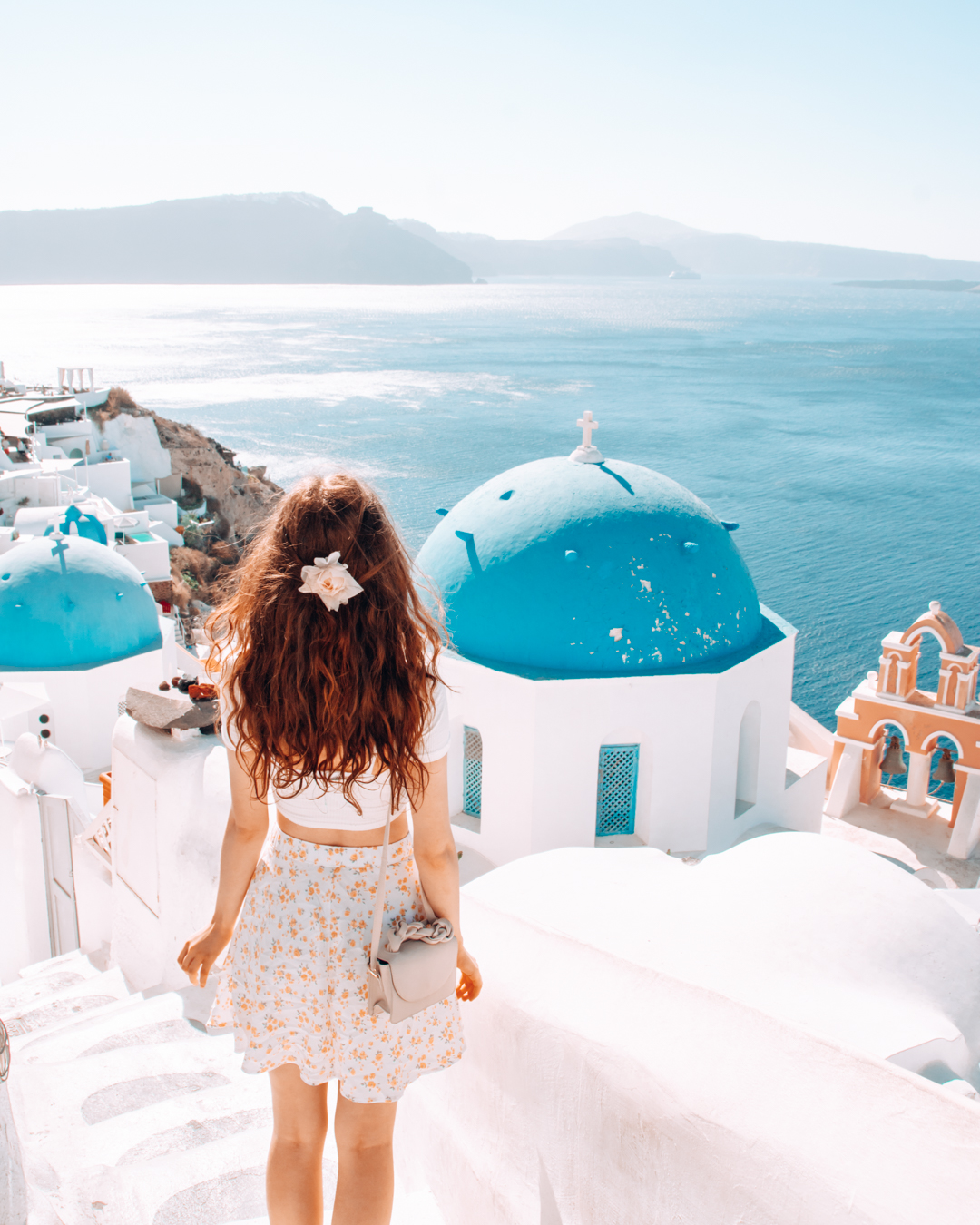 Girl in front of blue domes