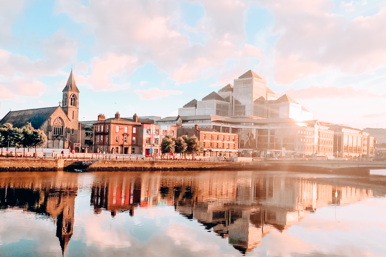 Water, buildings, and clouds in Dublin