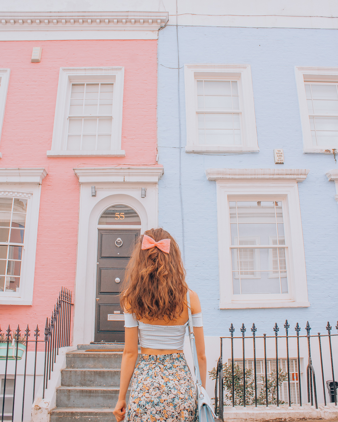 Pink and blue house