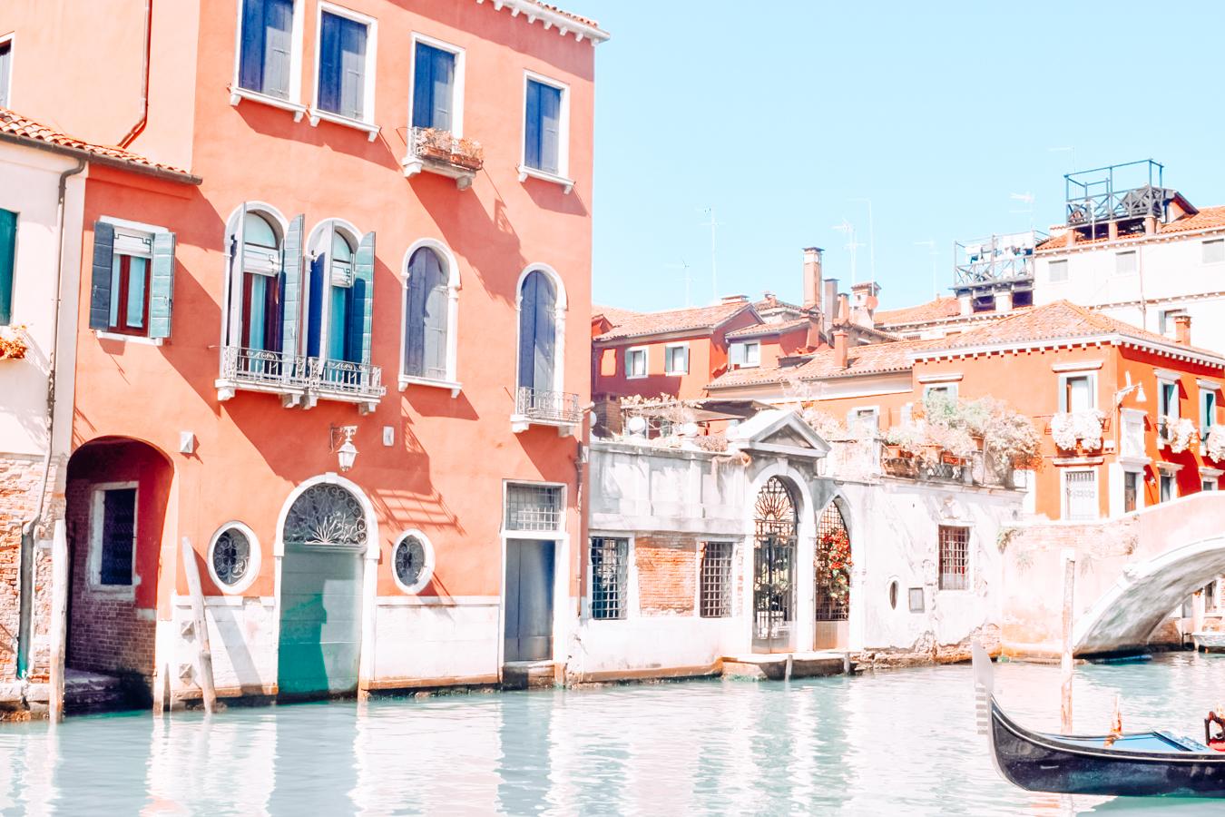 Orange buildings and water in Venice