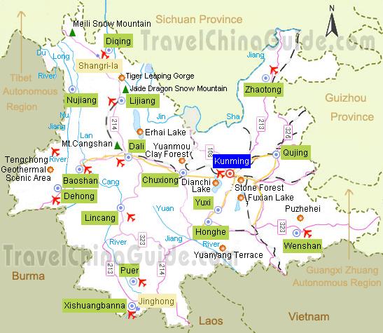 Map of Yunnan and Kunming