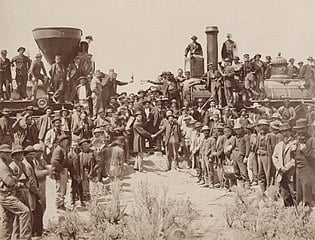 """East and West shaking hands at the laying of the last rail"""" of the Union Pacific Railroad"""