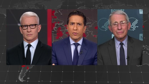 CNN's Anderson Cooper, Chief Medical Correspondent Dr. Sanjay Gupta, and Dr. Anthony Fauci, director of the National Institute of Allergy and Infectious Diseases.