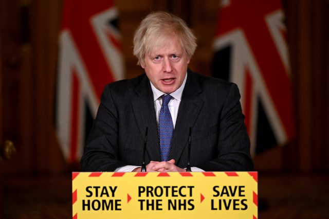 Britain's Prime Minister Boris Johnson attends a virtual press conference on Covid-19 at 10 Downing Street in London, on January 22.