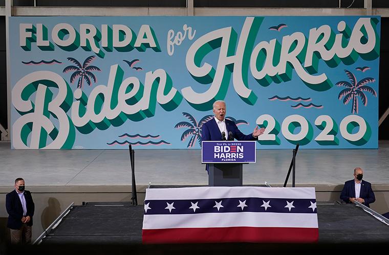 Democratic presidential candidate former Vice President Joe Biden speaks at Miramar Regional Park in Miramar, Florida, on Tuesday October 13.