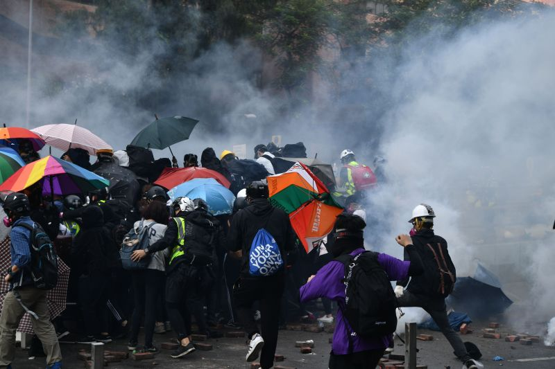 Police fire tear gas at protesters near the Hong Kong Polytechnic University on November 18, 2019.