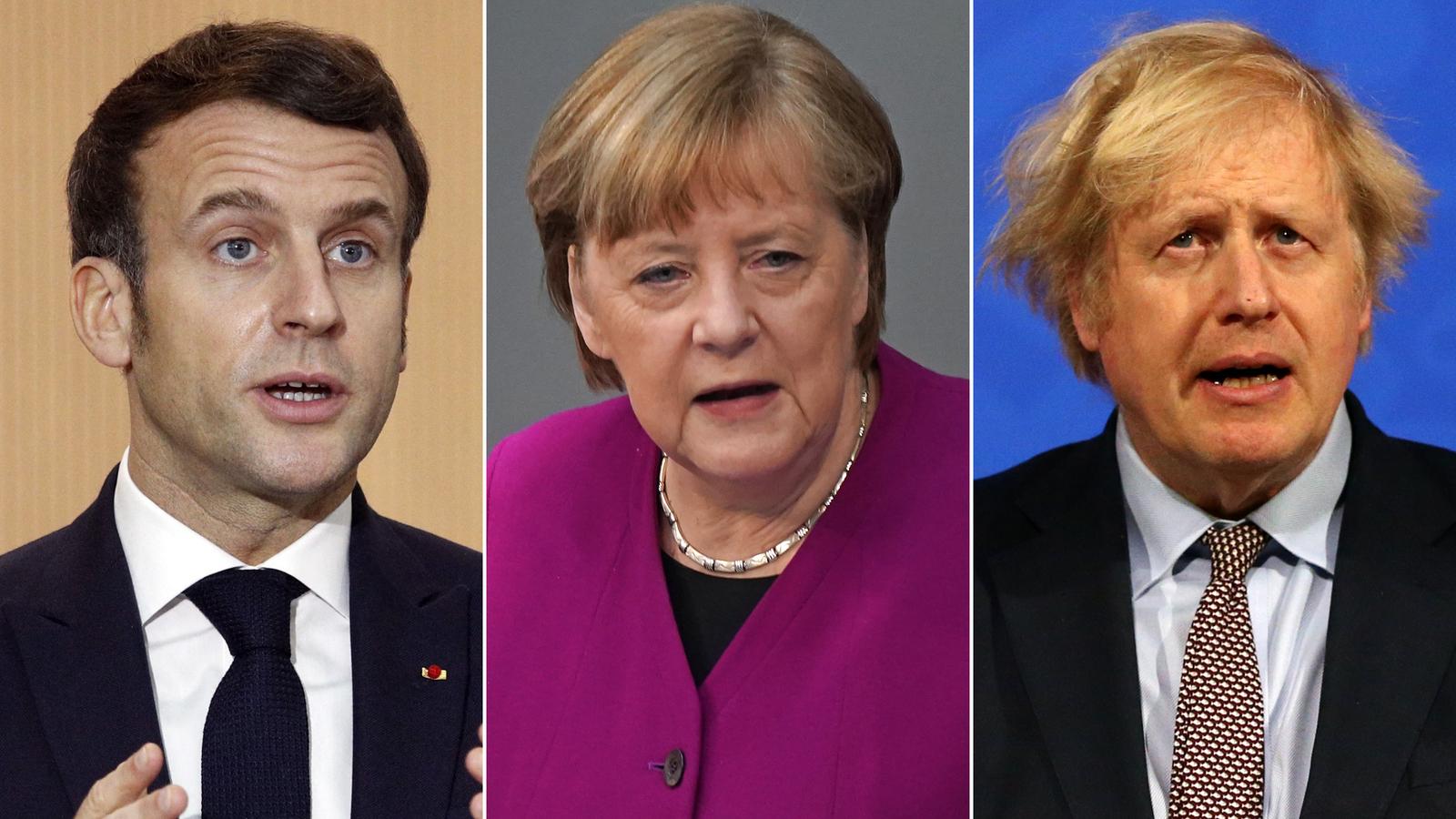 French President Emmanuel Macron, German Chancellor Angela Merkel and British Prime Minister Boris Johnson.