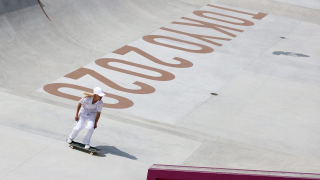 Japan's Aori Nishimura competes during the street prelims on July 26.