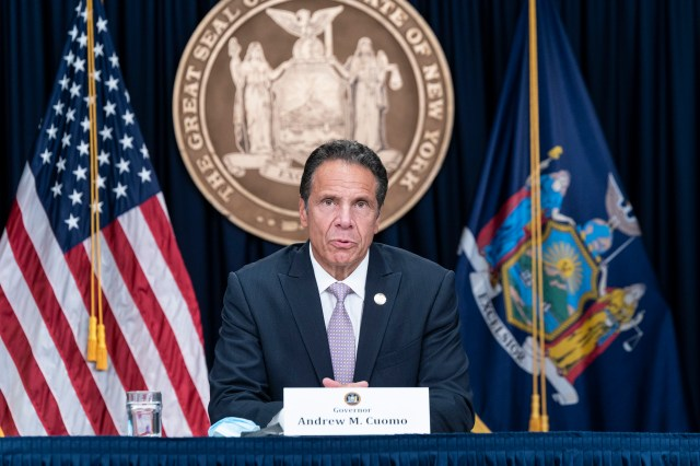 New York Gov. Andrew Cuomo holds a briefing in New York on July 13.