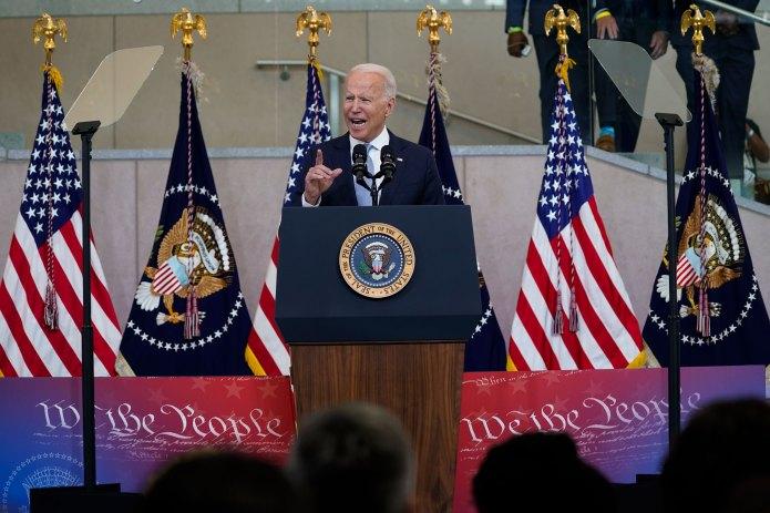 Speaking on voting rights in Philadelphia, Biden warns 'the 21st century Jim Crow assault is real'