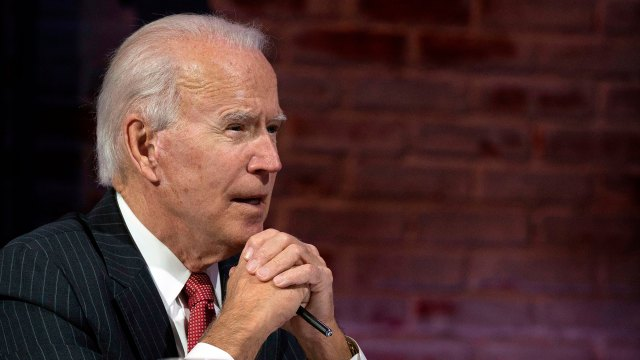 President-elect Joe Biden speaks virtually with the National Governors Association's executive committee in Wilmington, Delaware, on November 19.