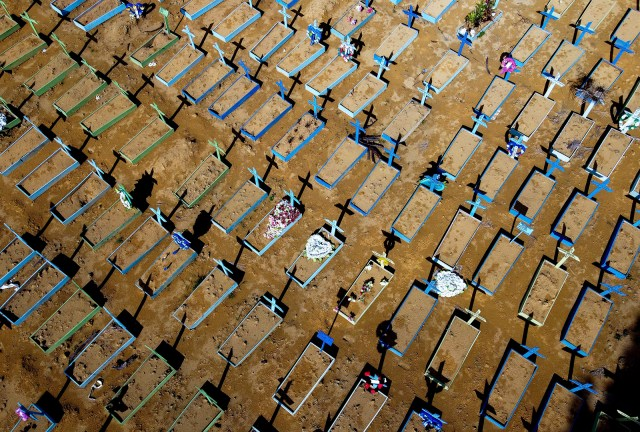 Aerial view of graves of Covid-19 victims at the Nossa Senhora Aparecida cemetery in Manaus, Amazon state, Brazil, on April 15